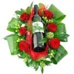 Bloemstuk + rode wijn
